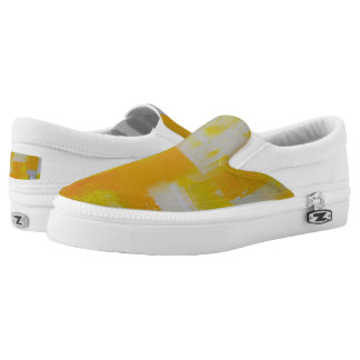 grey yellow white modern abstract painting printed shoes