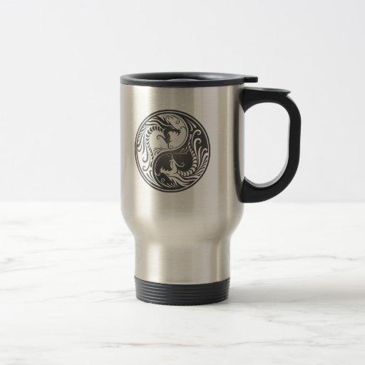 Grey Yin Yang Dragons Mug
