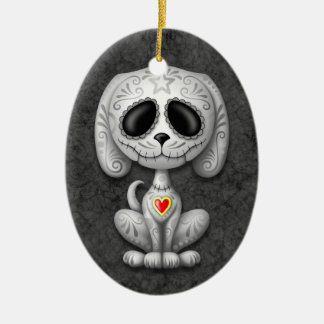 Grey Zombie Sugar Puppy Christmas Ornament