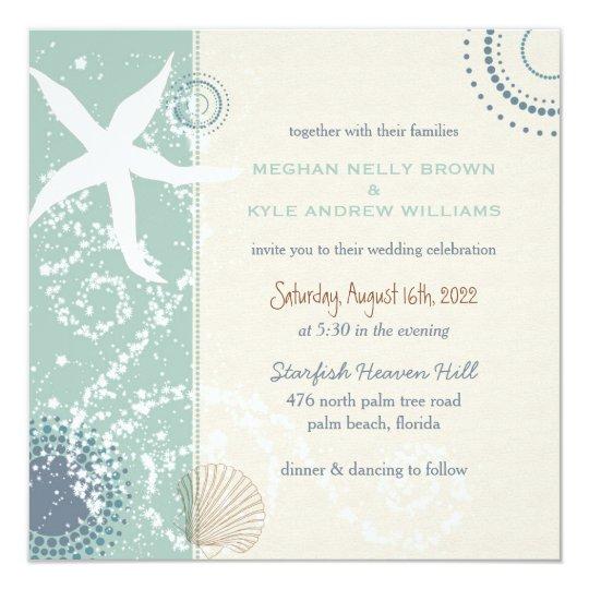 Greyed Jade Dusky Blue Beach Wedding Card