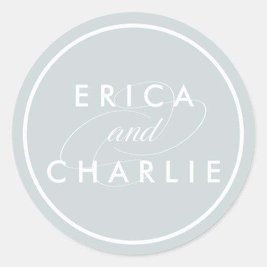 Greyed Jade Personalised Wedding Classic Round Sticker