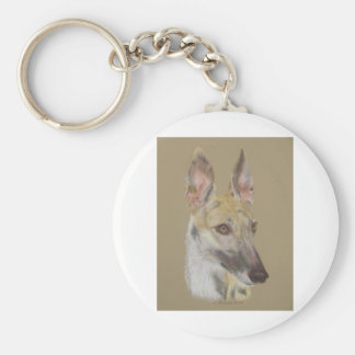 Greyhound 2 basic round button key ring