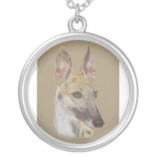 Greyhound 2 round pendant necklace