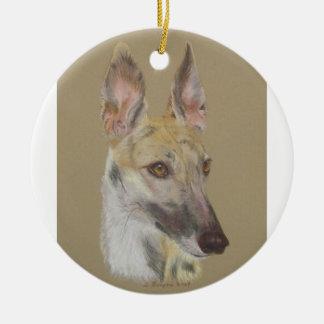 Greyhound 2 round ceramic decoration