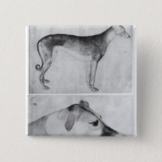 Greyhound and head of a greyhound 15 cm square badge