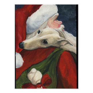 Greyhound and Santa Claus Dog Art Print