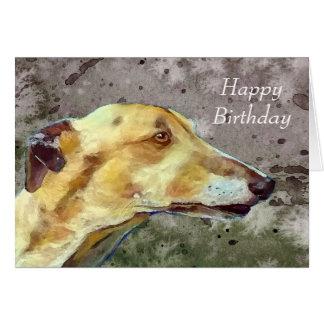Greyhound birthday card (a374)