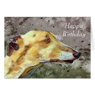 Greyhound birthday card (a374) title=