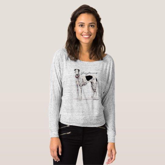 Greyhound Black and White Dog Art Shirt