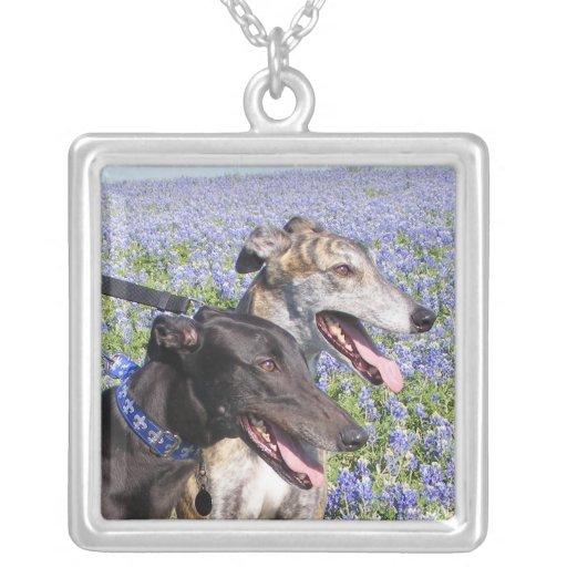 greyhound & bluebonnets personalized necklace