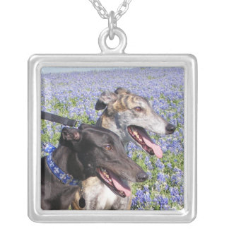 greyhound & bluebonnets square pendant necklace