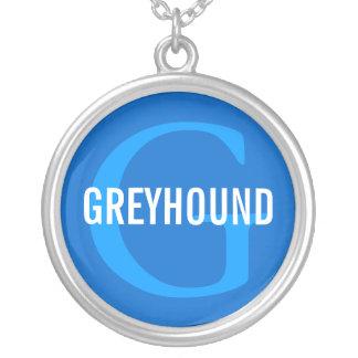 Greyhound Breed Monogram Design Round Pendant Necklace