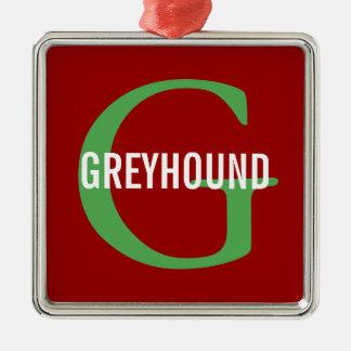 Greyhound Breed Monogram Design Silver-Colored Square Decoration
