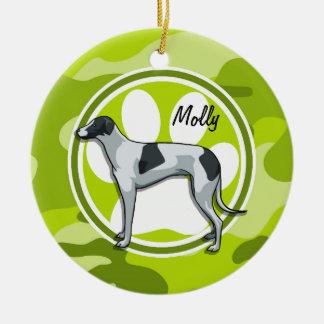 Greyhound; bright green camo, camouflage round ceramic decoration