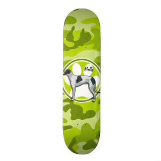 Greyhound; bright green camo, camouflage custom skateboard