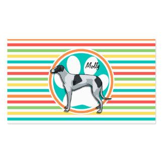 Greyhound Bright Rainbow Stripes Business Card