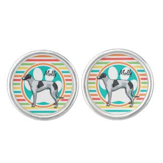 Greyhound; Bright Rainbow Stripes Cufflinks