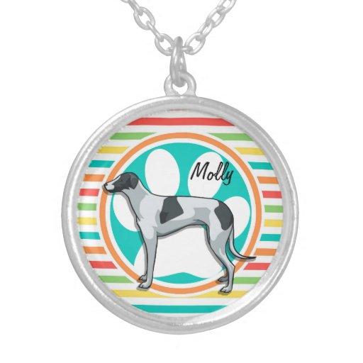 Greyhound; Bright Rainbow Stripes Pendant
