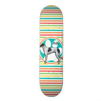 Greyhound; Bright Rainbow Stripes Skate Deck