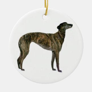 Greyhound - Brindle (standing) Round Ceramic Decoration