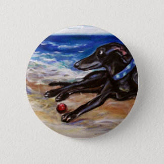 Greyhound by the sea 6 cm round badge