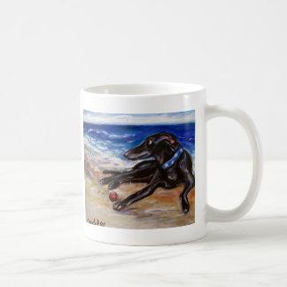 Greyhound by the sea coffee mug