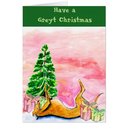 Greyhound Christmas card (a324)