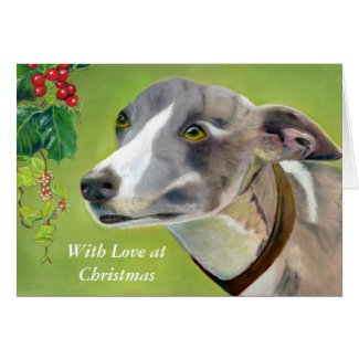 Greyhound Christmas card (a403) title=