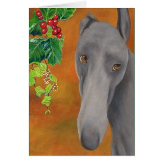 Greyhound Christmas card (a414) title=
