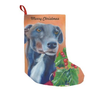 Greyhound Christmas stocking (a337) title=