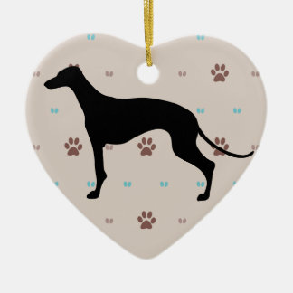 Greyhound Double-Sided Heart Ceramic Christmas Ornament