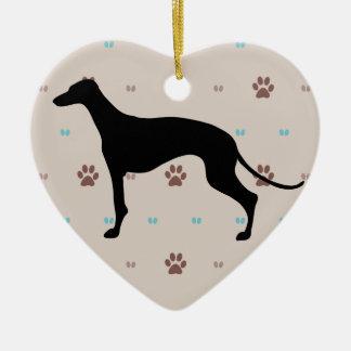 Greyhound Ceramic Heart Decoration