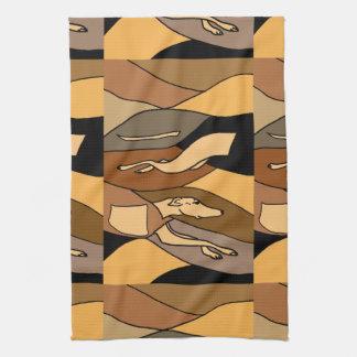 Greyhound Dog Abstract Art Design Tea Towel