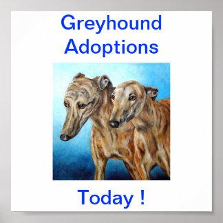 Greyhound Dog Adoptions Today Sign Poster