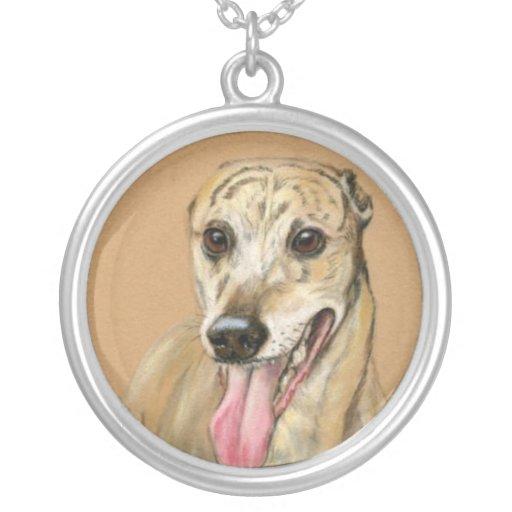 Greyhound Dog Art Pastel Necklace