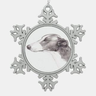 Greyhound Dog Art Snowflake Ornament