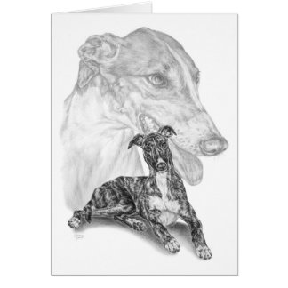 Greyhound Dog Drawing by Kelli Swan Card