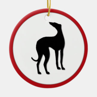Greyhound Dog Holly Christmas Custom Date Round Ceramic Decoration