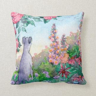 Greyhound dog in a flower garden cushion. cushion