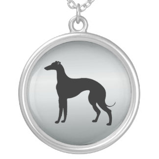 Greyhound Dog in Silhouette Round Pendant Necklace