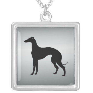 Greyhound Dog in Silhouette Square Pendant Necklace