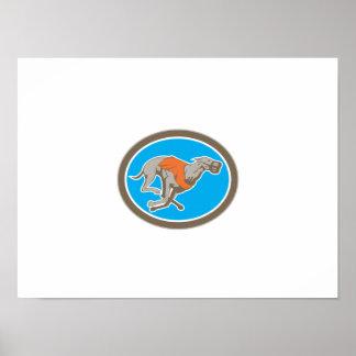 Greyhound Dog Racing Circle Retro Posters