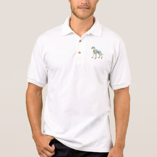 Greyhound Dog Side Mosaic Polo Shirt
