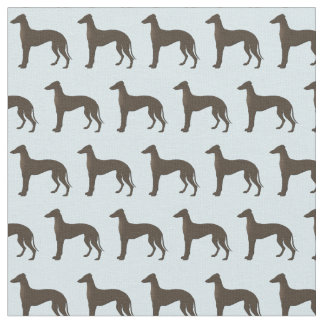Greyhound Dog Silhouette Animal Pattern Teal Fabric
