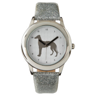 Greyhound Dog Silhouette on Diamond Shapes Wrist Watches
