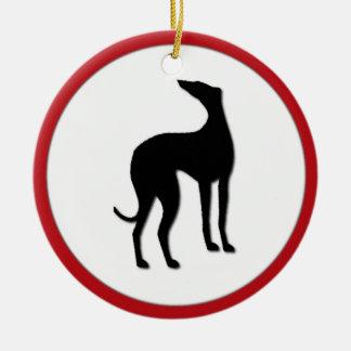 Greyhound  Dog Winter Holly Christmas Swirl Christmas Tree Ornaments