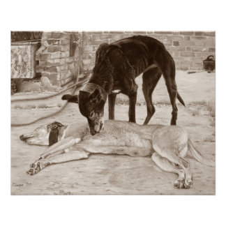 greyhound dogs scenic landscape realist art