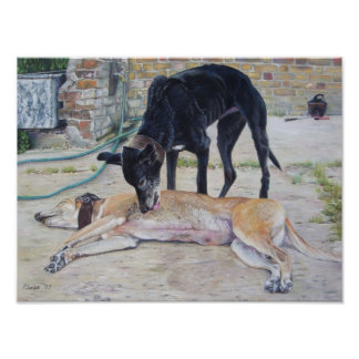 greyhound dogs scenic landscape realist art poster
