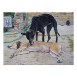 greyhound dogs scenic landscape realist art print
