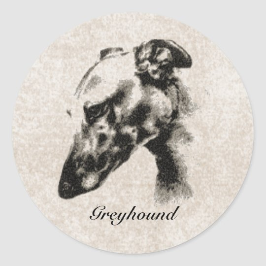 Greyhound Elegance Customisable Classic Round Sticker